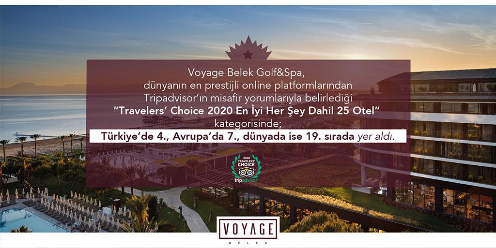 Voyage Belek Golf & Spa Türkiye'de 4., Avrupa'da 7., dünyada ise 19.
