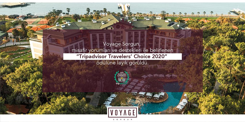 Voyage Sorgun Tripadvisor Travelers' Choice 2020 ödülü